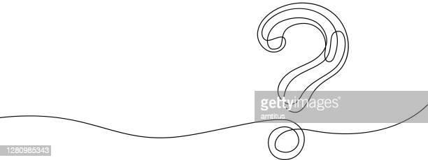 line-art-fragezeichen - schulische prüfung stock-grafiken, -clipart, -cartoons und -symbole