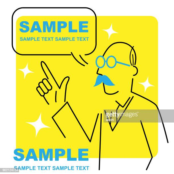 line art senior businessman talking with speech bubble and pointing upwards with index finger - professor stock illustrations, clip art, cartoons, & icons