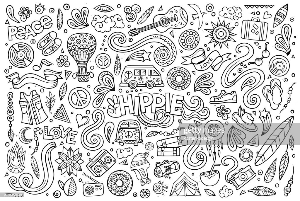 Line art set of hippie objects