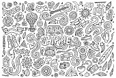 Line art set of hippie objects
