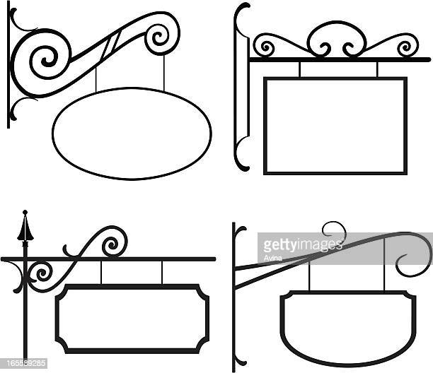 line art - signs with wrought iron hangers - hanging stock illustrations