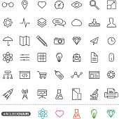 Line art simple web icons set