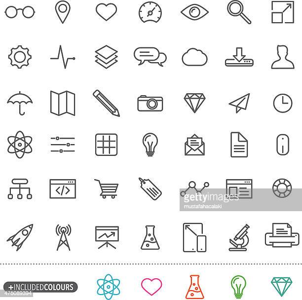 Line art simple web icons set