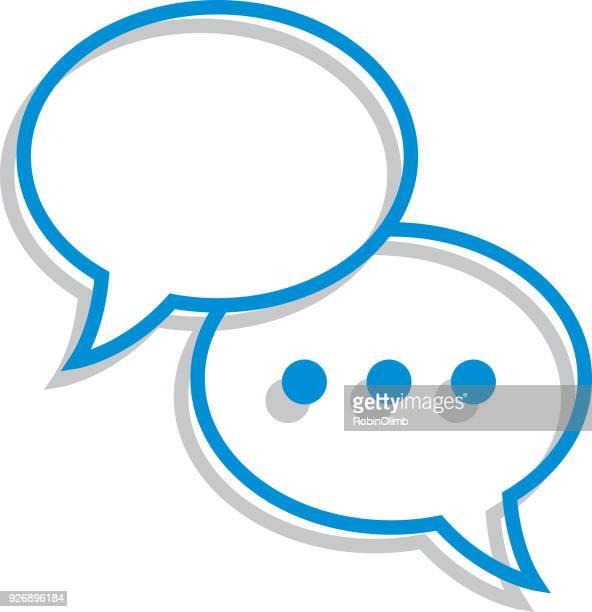 stockillustraties, clipart, cartoons en iconen met lijn art toespraak bubble pictogram - sms'en