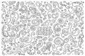 Line art vector Doodle set of curls and swirl