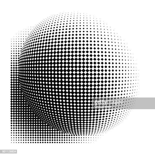 Line art vector of a high key sphere with halftone pattern