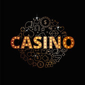 Line art vector set of Casino icons, symbols and items. Premium casino banner design.