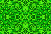 Line art with green abstract seamless pattern