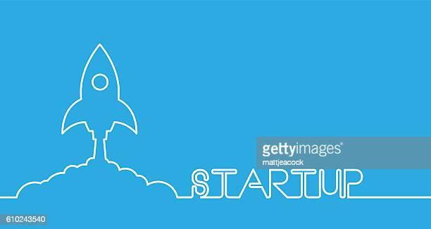 line artwork of a space rocket launching on a blue background - stapellauf stock-grafiken, -clipart, -cartoons und -symbole