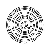 line at symbol of web addres to internet connection