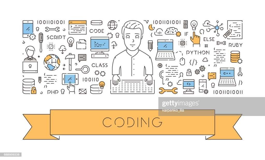Line banner for programming and coding