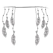 line beauty feathers hanging to design decoration