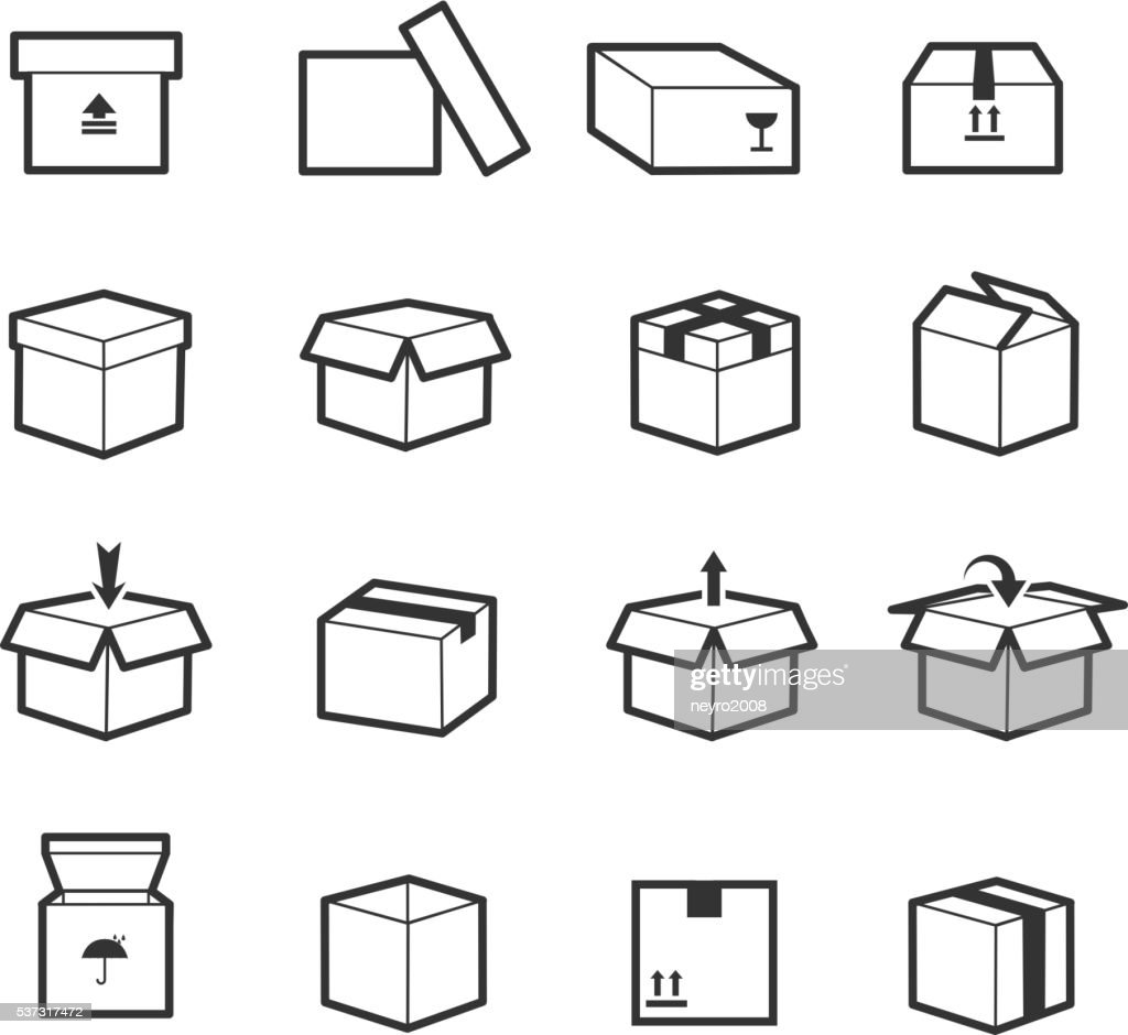Line box vector icons