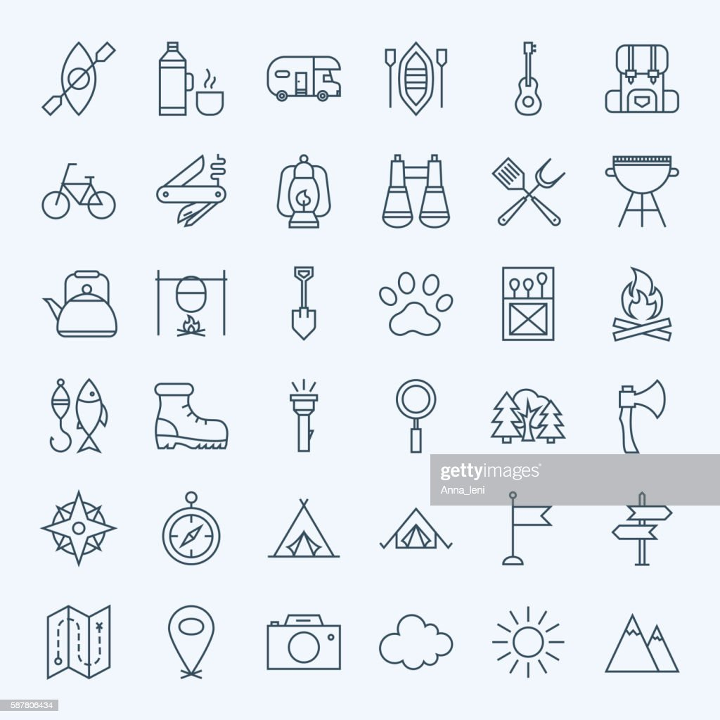 Line Camping Icons