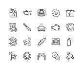 Line Car Service Icons