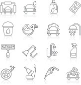 Line car wash objects and icons