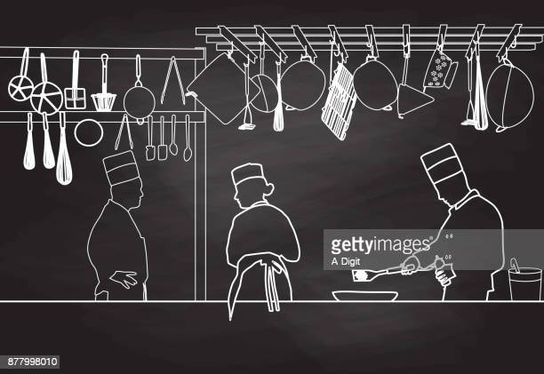 ilustrações, clipart, desenhos animados e ícones de giz de linha chef - chef de cozinha