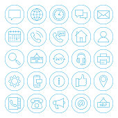 Line Circle Contact Us Icons