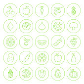 Line Circle Fresh Fruit Vegetable Icons Set