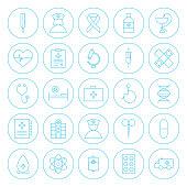 Line Circle Health Care Medical Icons Set