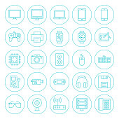 Line Circle Technology Gadgets Icons Set