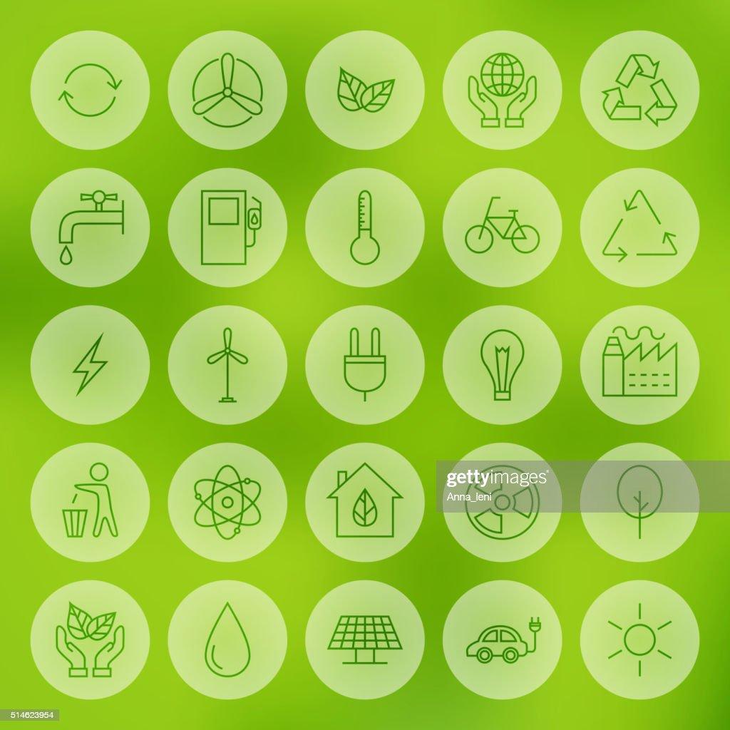 Line Circle Web Ecology Energy Power Icons Set