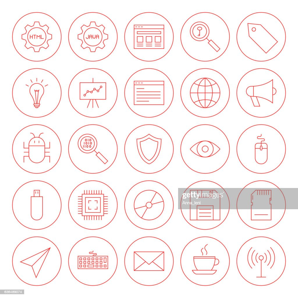 Line Computer Circle Icons