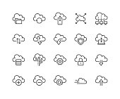 Line Computer Cloud Icons