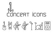 line concert icons set on white background