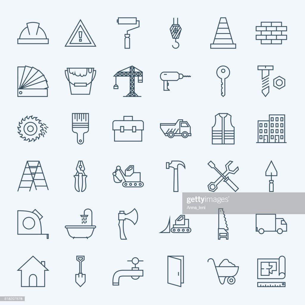 Line Construction Tools Icons Set