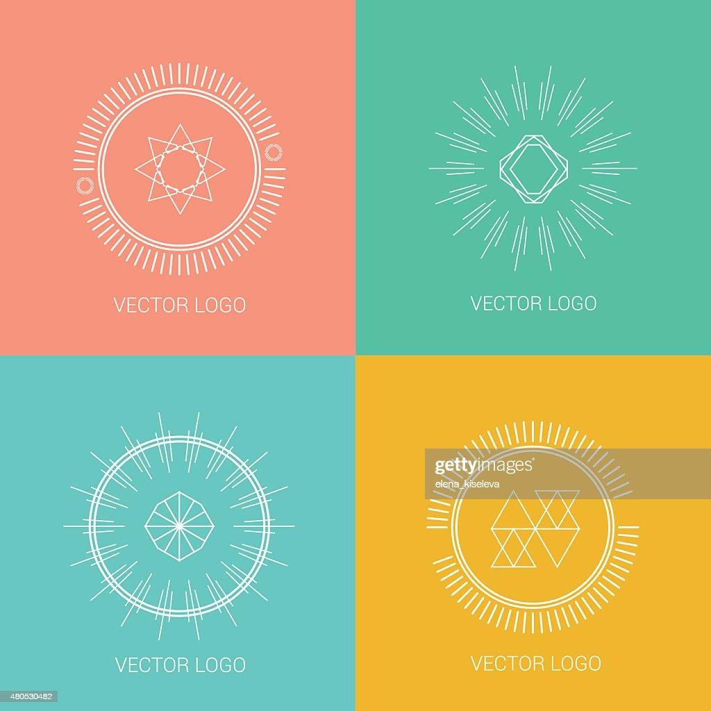 Zeile Symbole, logos und design-Elemente für Karten oder Abzeichen : Vektorgrafik