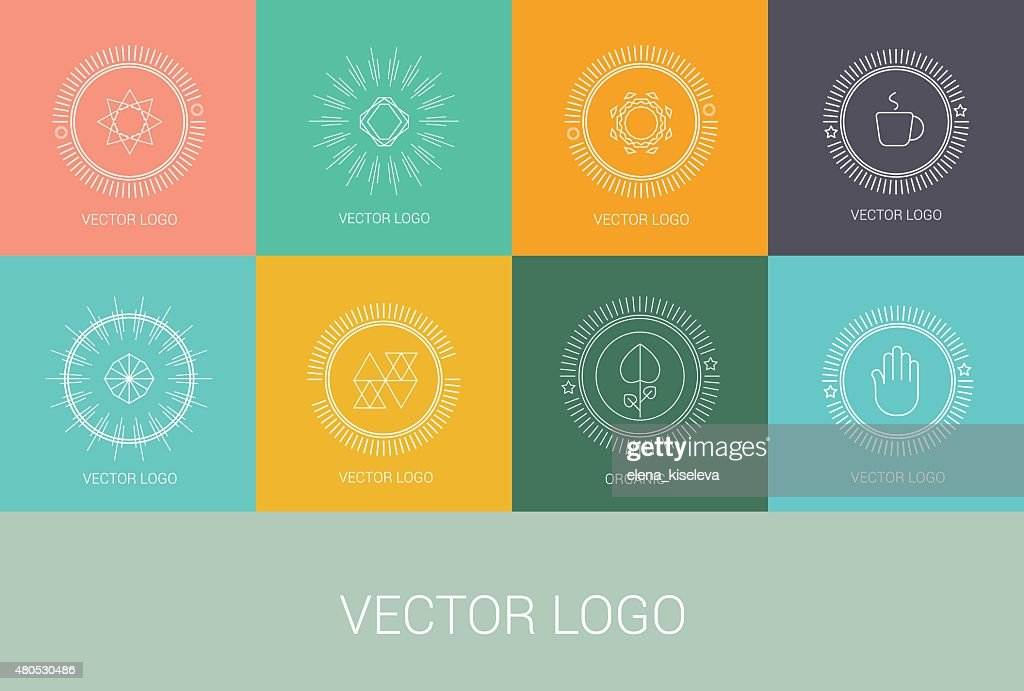 Line design logos and icons elements for cards or badges : Vektorgrafik