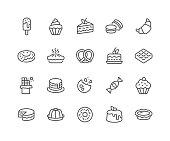 Line Dessert Icons