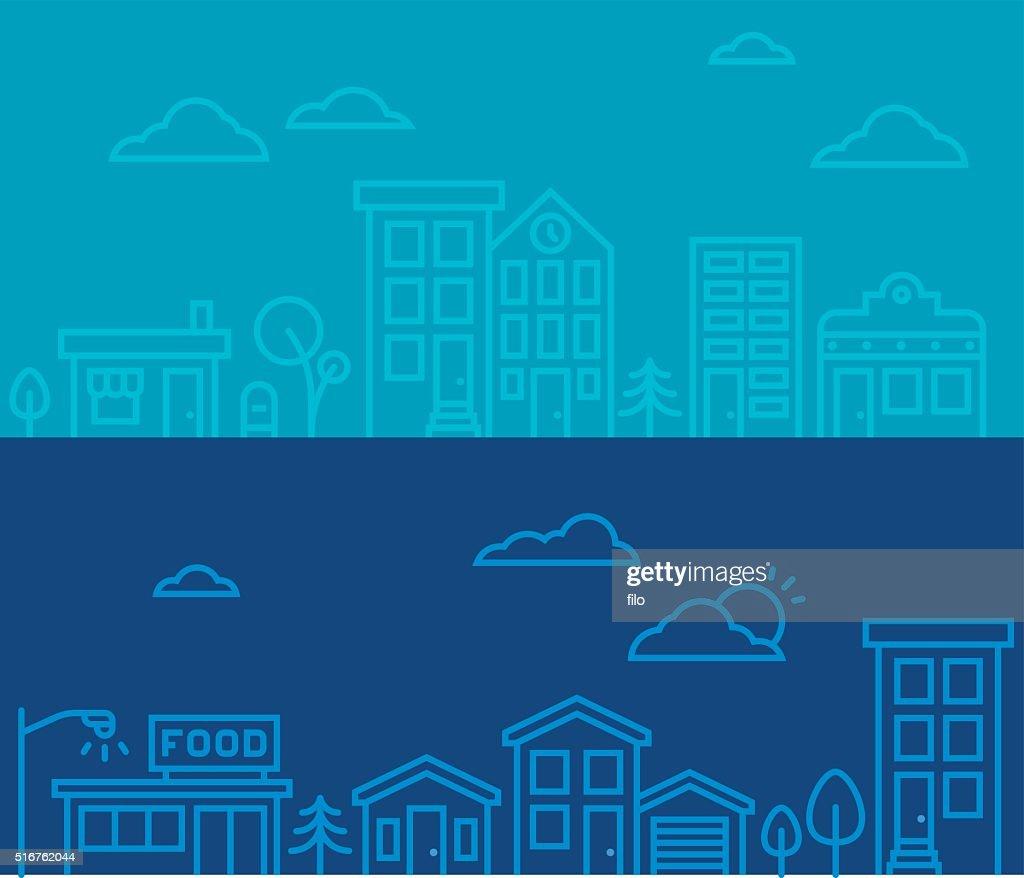 Line Drawing City Scenes : stock illustration