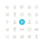 Line drawing icon set - Summer vacation, holidays and travel