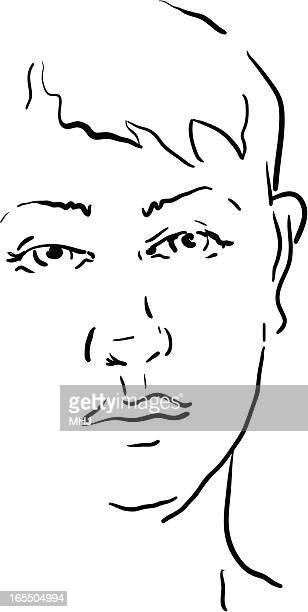 ラインドローイングの若い女性 - ショートヘア点のイラスト素材/クリップアート素材/マンガ素材/アイコン素材