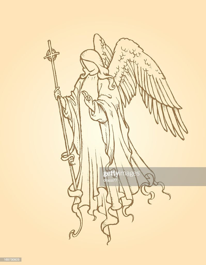 Line drawing of an angel of peace on a tan background