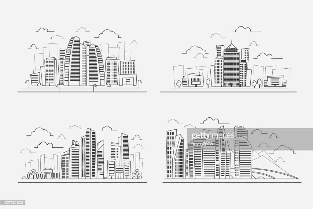 architectural drawings of skyscrapers. Brilliant Skyscrapers Line Drawing Skyscrapers Vector Contour Cityscape Elements  Vector Art On Architectural Drawings Of Skyscrapers