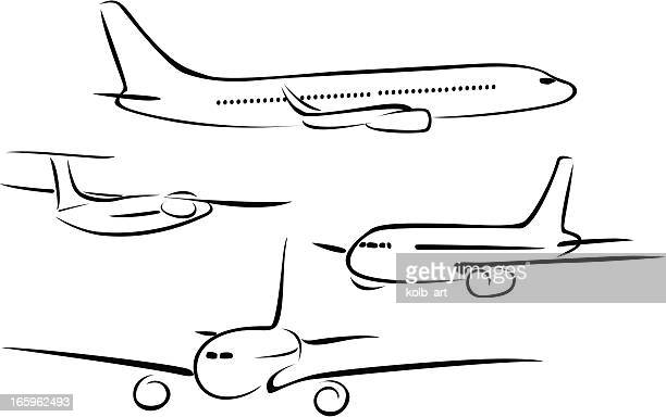 line drawings of aeroplanes