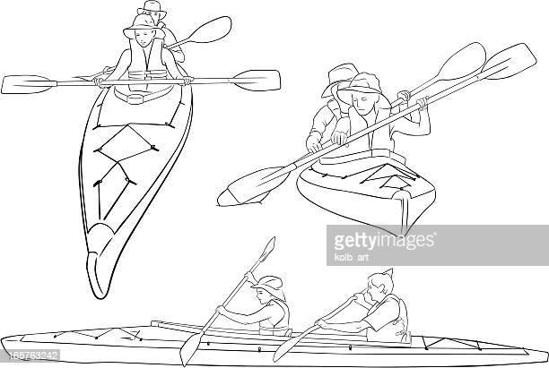 line drawings of double kayaks - kayak stock illustrations