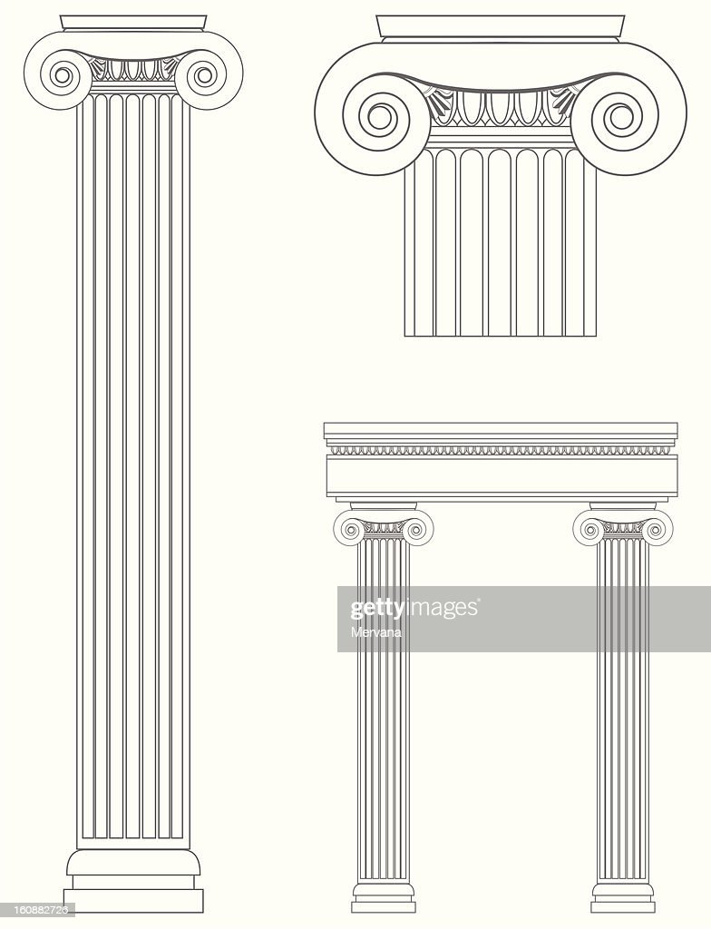 Line drawings of Roman columns
