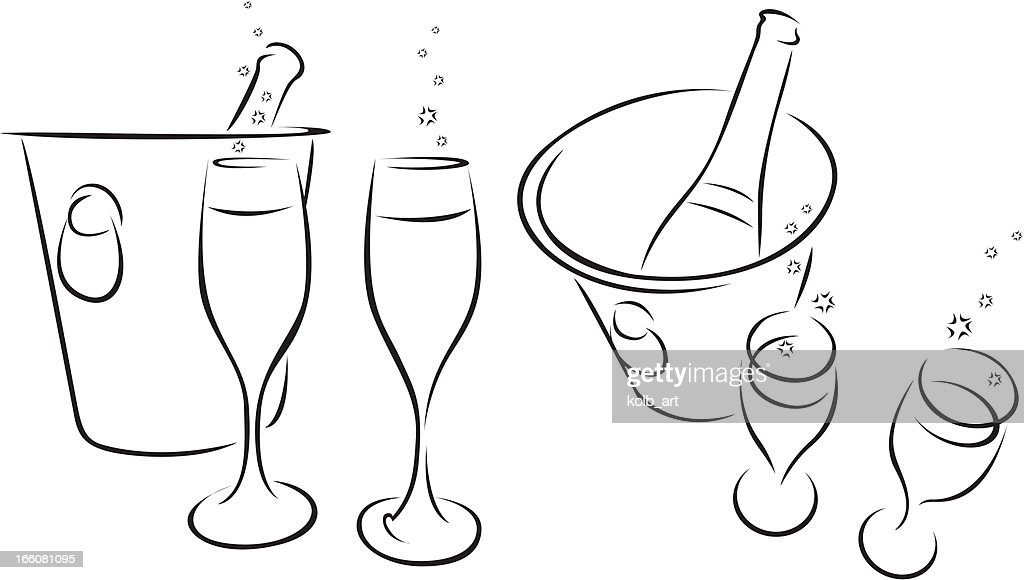 Line drawn champagne icons : Vector Art