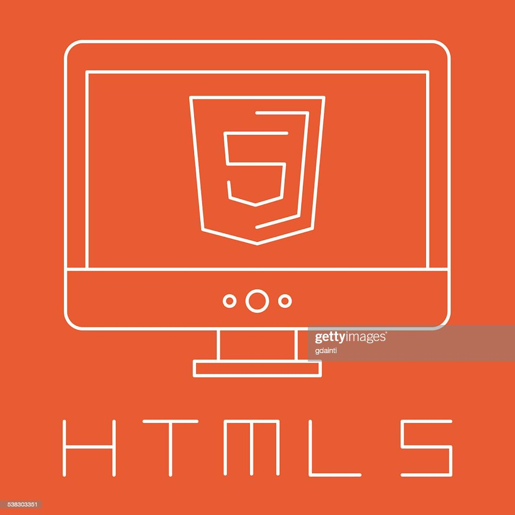 line drawn simple illustration of orange shield with html five