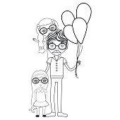 line father with his daughters and balloons