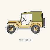 Line flat color vector icon service staff tarpaulin body army car. Military vehicle. Cartoon vintage style. Cargo transportation. Tractor unit. Tow. Simple. Illustration and element for your design.