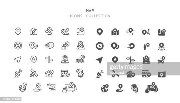 ライン&フラット ナビゲーション マップ アイコン - トレイル表示点のイラスト素材/クリップアート素材/マンガ素材/アイコン素材