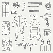 Line flat plain vector diver underwater equipment icon set. Retro. Cartoon style. Ocean, sea beach. Snorkeling. Summer adventure vacation. Scuba. Illustration and element for your design and wallpaper