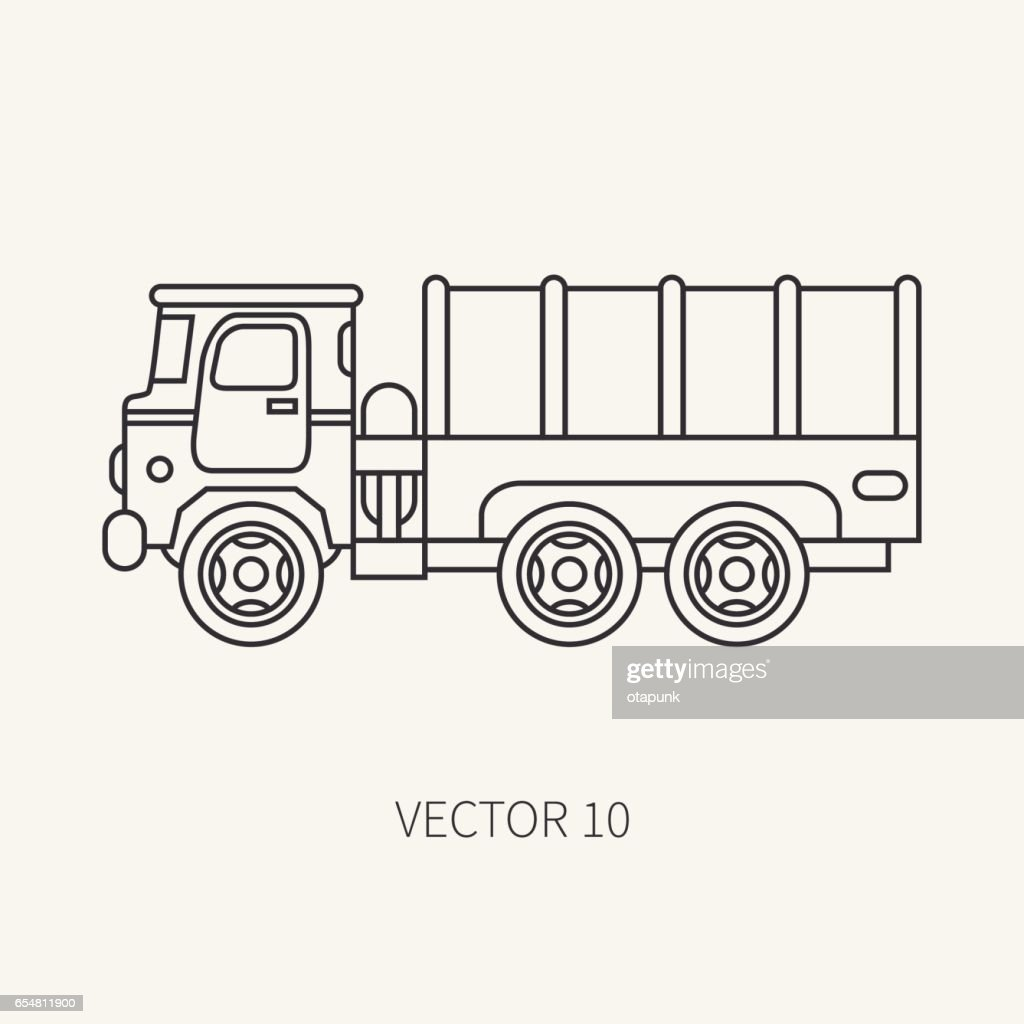 Line flat plain vector icon tarpaulin wagon army truck. Military vehicle. Cartoon vintage style. Cargo and soldiers transportation. Tractor unit. Tow. Simple. Illustration and element for your design.