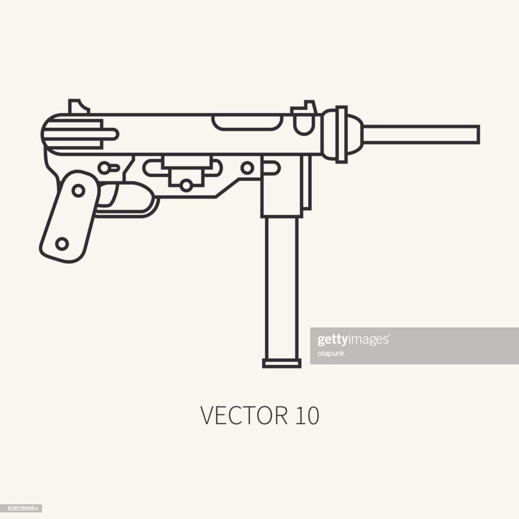 Line flat plain vector military icon - machine gun. Army equipment and armament. Legendary retro weapon. Cartoon style. Assault. Soldiers. War. Illustration and element for your design and wallpaper.