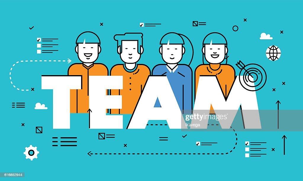 Line flat vector business design for team building